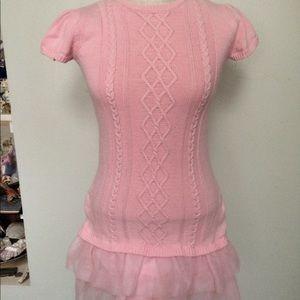Pink cable knit tiered ruffle hem tunic sweater